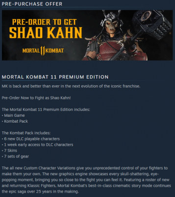 MK11 Premium Edition Details On Steam