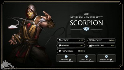 Mortal Kombat Mobile 2.0 MK11 Scorpion Stats