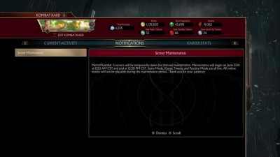 Mortal Kombat 11 Severs Maintenance
