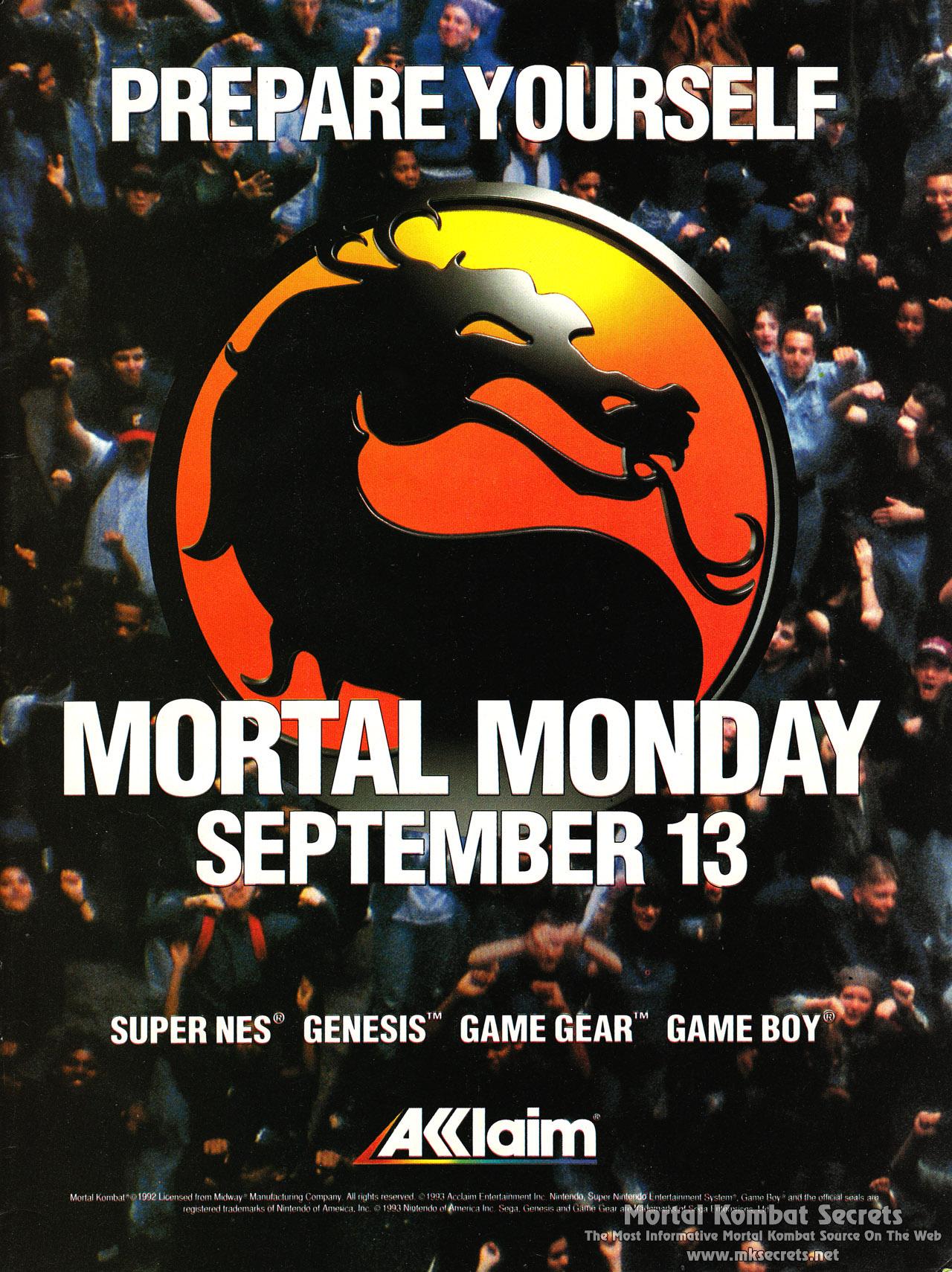 Mortal Kombat 1 1992 Advertisements Mortal Kombat Secrets