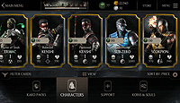 Mortal Kombat X Mobile Android Store Characters
